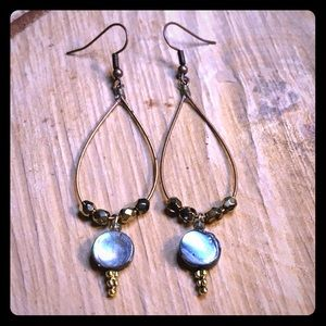 Guitar string earrings with abalone